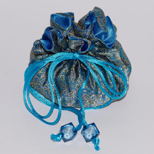 Satin lined Jewellery Pouches - Blue lined with Blue