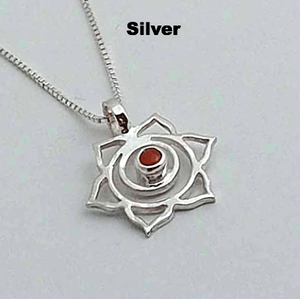 Silver Chakra Pendant: Sacral - Orange - Cornellion