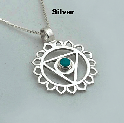 Silver Chakra Pendant: Throat - Blue - Turquoise