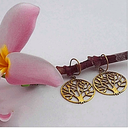 Brass Jewelry For The Spirit - Tree of Life Earrings
