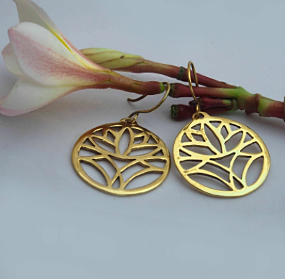 Brass Mule Jewels: Lotus Earrings