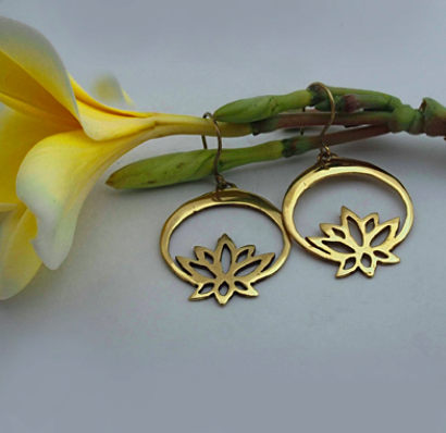 Brass Mule Jewels: Lotus Secret Earrings