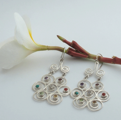 YIN Flower Chakra Earrings (Silver)