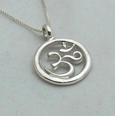 Silver The Om Symbol: Indian Om Circle Pendant