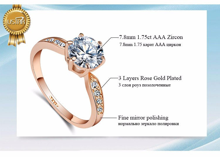 Zircon Rings for women Rose gold color Austrian Crystals Jewelry