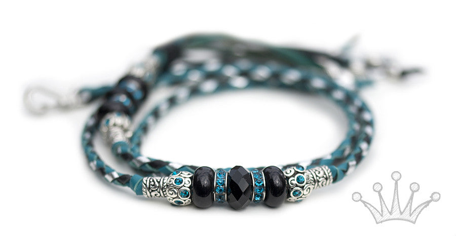 Kangaroo leather show lead in turquoise, black & silver - Emoticon Kangaroo Leather Show Leads