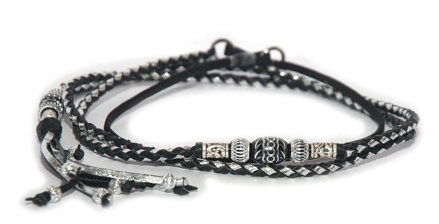 Kangaroo leather show lead in black & silver