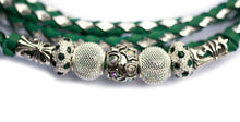Kangaroo leather show lead in jade & silver - Emoticon Kangaroo Leather Show Leads