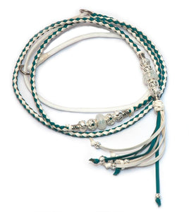 Kangaroo leather show lead in white & turquoise - Emoticon Kangaroo Leather Show Leads