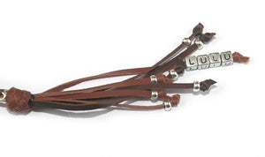 Kangaroo leather show lead in chocolate & whisky - Emoticon