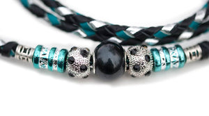 Kangaroo leather show lead in silver, black & turquoise - Emoticon Kangaroo Leather Show Leads