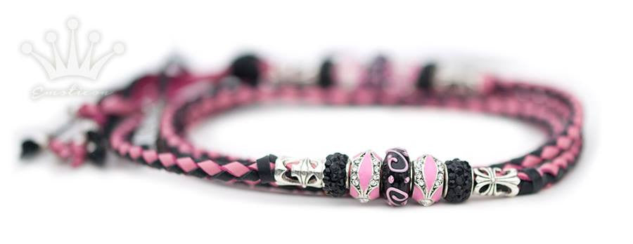 Kangaroo leather show lead in black & soft pink - Emoticon