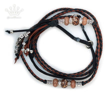 Kangaroo leather show lead in whisky & black - Emoticon Kangaroo Leather Show Leads