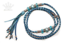 Kangaroo leather show lead in sky blue & jacaranda - Emoticon Kangaroo Leather Show Leads