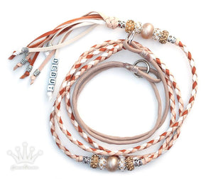 Kangaroo leather show lead in natural, white & saddle tan - Emoticon Kangaroo Leather Show Leads