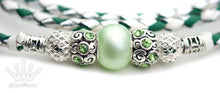 Kangaroo leather show lead in jade, white & silver - Emoticon Kangaroo Leather Show Leads