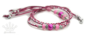 Kangaroo leather show lead in soft pink, hot pink and silver - Emoticon Kangaroo Leather Show Leads
