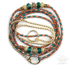 Kangaroo leather show lead in saddle tan, turquoise & gold - Emoticon Kangaroo Leather Show Leads
