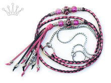 Kangaroo leather show lead in soft pink, hot pink & black - Emoticon Kangaroo Leather Show Leads