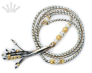 Kangaroo leather show lead in gold & silver - Emoticon Kangaroo Leather Show Leads
