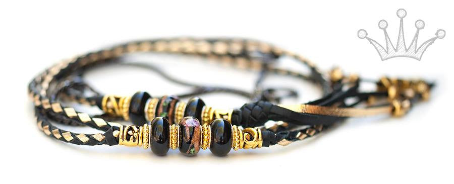 Kangaroo leather show lead in black & gold