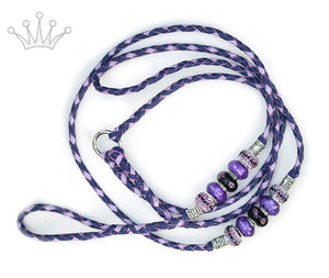 Kangaroo leather show lead in purple & lavender - Emoticon Kangaroo Leather Show Leads