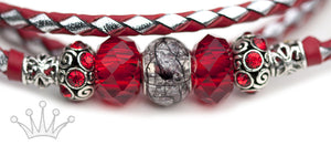 Kangaroo leather show lead in red & silver - Emoticon Kangaroo Leather Show Leads