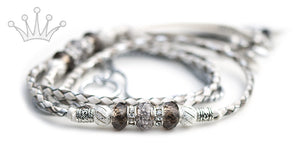 Kangaroo leather show lead in white, pewter & silver - Emoticon Kangaroo Leather Show Leads