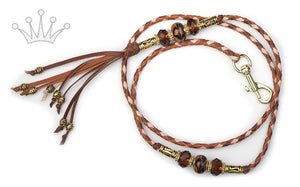 Kangaroo leather show lead in whisky, natural & saddle tan - Emoticon Kangaroo Leather Show Leads