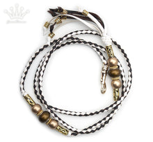 Kangaroo leather show lead in chocolate & white - Emoticon
