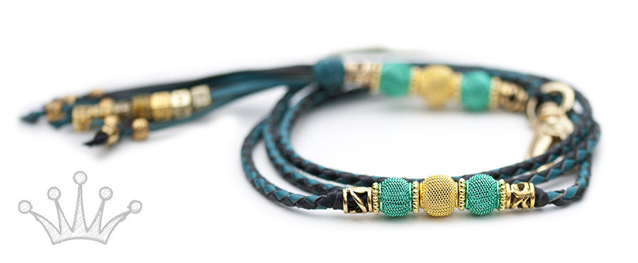 Kangaroo leather show lead in black & turquoise - Emoticon Kangaroo Leather Show Leads