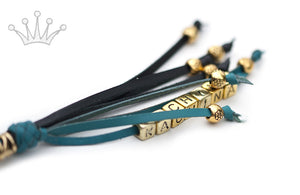 Kangaroo leather show lead in black & turquoise - Emoticon