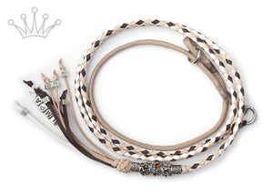 Kangaroo leather show lead in natural, dark brown & white - Emoticon Kangaroo Leather Show Leads