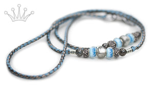 Kangaroo leather show lead in sky blue & pewter - Emoticon Kangaroo Leather Show Leads
