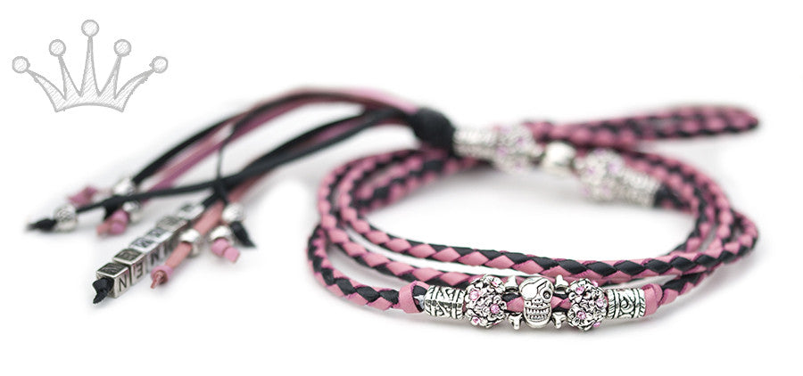 Kangaroo leather show lead in soft pink & black - Emoticon Kangaroo Leather Show Leads