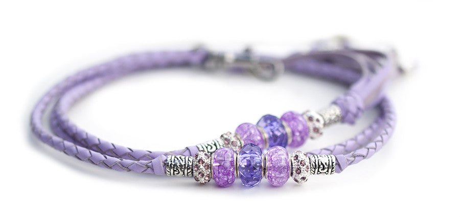 Kangaroo leather show lead in lavender - Emoticon Kangaroo Leather Show Leads