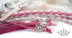 Kangaroo leather show lead in white & soft pink - Emoticon Kangaroo Leather Show Leads