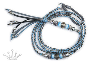 Kangaroo leather show lead in pewter & sky blue - Emoticon Kangaroo Leather Show Leads
