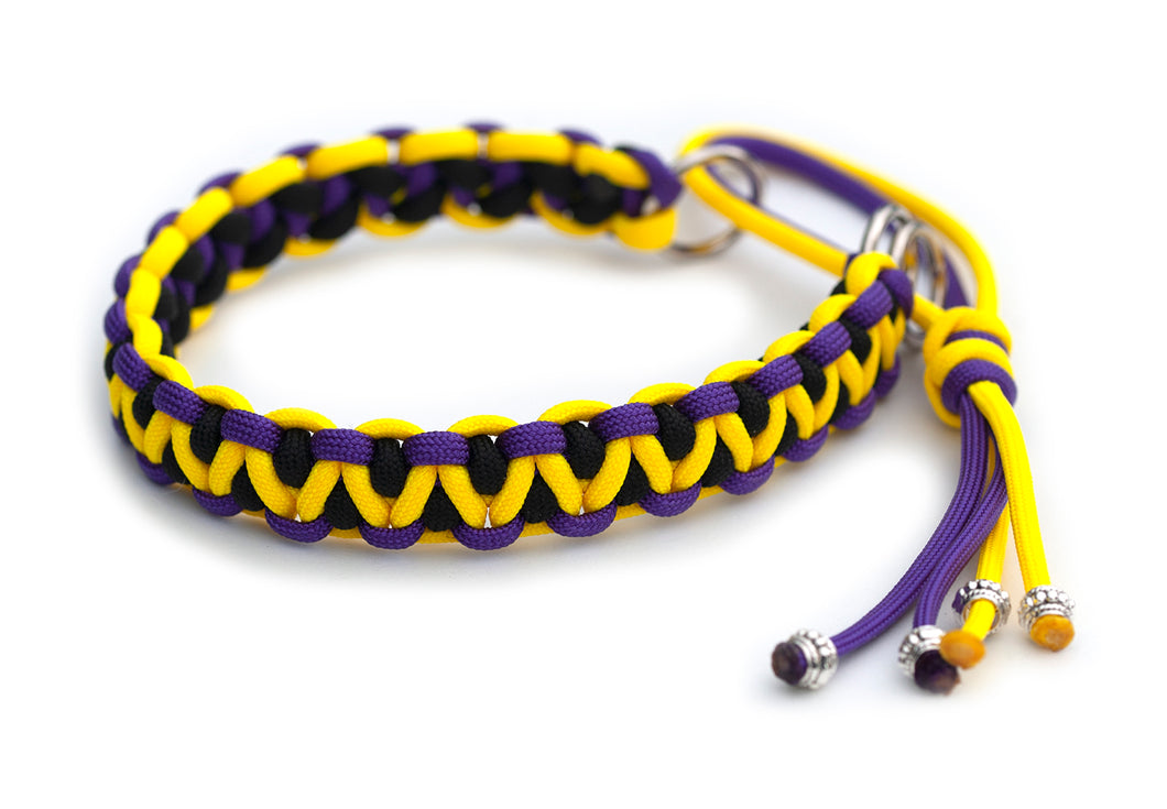 Martingale paracord collar in Acid Purple / Canary Yellow / Black