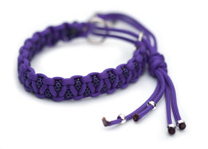 Martingale paracord collar in Acid Purple / Acid Purple & Black Diamonds