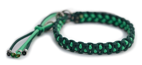Martingale paracord collar in Alpine Green / Mint