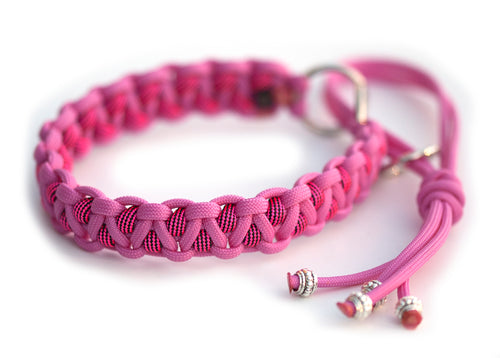 Martingale paracord collar in Bubble Gum Pink / Neon Pink & Black Stripes
