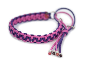 Martingale paracord collar in Bubble Gum Pink / Deep Purple