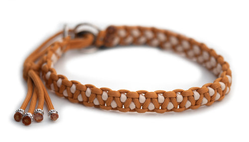 Martingale paracord collar in Caramel / Cream