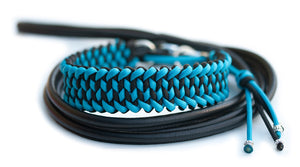 Martingale paracord dog collar in black and cerulean blue with black leather lead