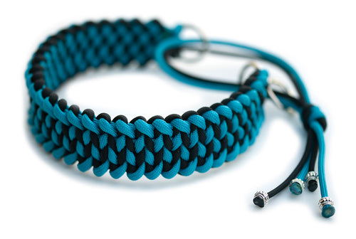 Martingale paracord dog collar in black and cerulean blue