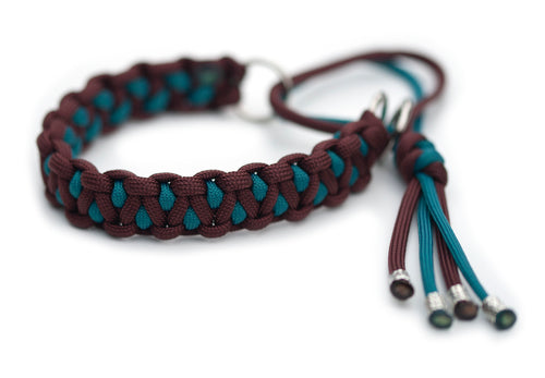 Martingale paracord collar in Chestnut / Teal