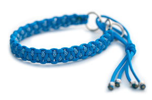 Martingale paracord collar in Colonial Blue / Colonial Blue & Silver Grey Diamonds