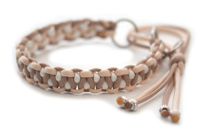 Martingale paracord collar in Cream, Mocca and White