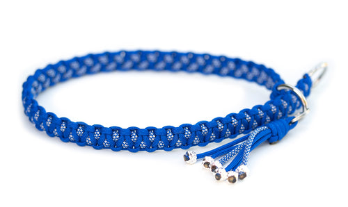 Paracord slip collar in Electric Blue / Electric Blue & Silver Grey Diamonds